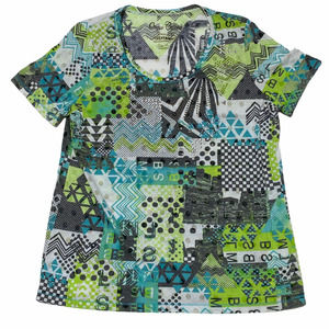 Onque Casuals Abstract Multicolor Print Top Large